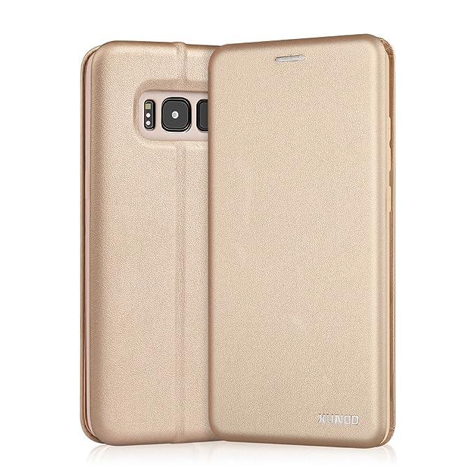 Funda Samsung Galaxy S8,XUNDD Carcasa Protectora Slim Folio Cartera y Fundas Tapa movil Case Cover TPU Cuero impresión Flip Libro Leather Wallet Con Cierre ...