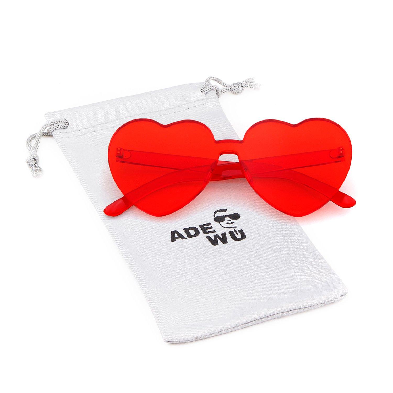ADEWU Love Heart Sunglasses Women Girl Rimless Candy Color One Piece Eyewear