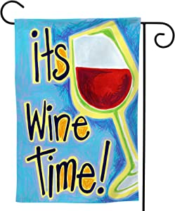 It's Wine Time Garden Flag, Double Sided Garden Outdoor Yard Flags for Decor