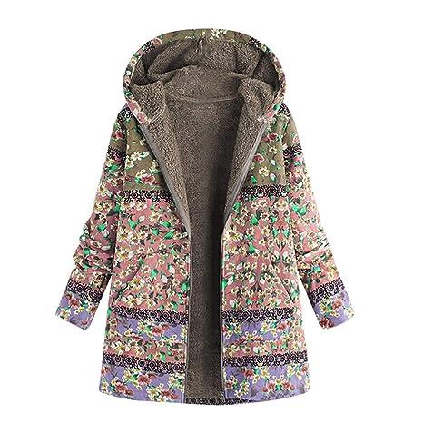2696e3890869f BabiQ Vintage Women Plus Size Printed Hooded Long Sleeve Ladies Fleece Thick  Warm Coats Buckle Coat
