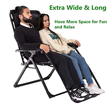Superb Ezcheer Heavy Duty Zero Gravity Chair Xl Supports 400 Lbs Oversized Patio Lounge Chair Comfortable Outdoor Camping Beach Chair Recliners With Cup Caraccident5 Cool Chair Designs And Ideas Caraccident5Info