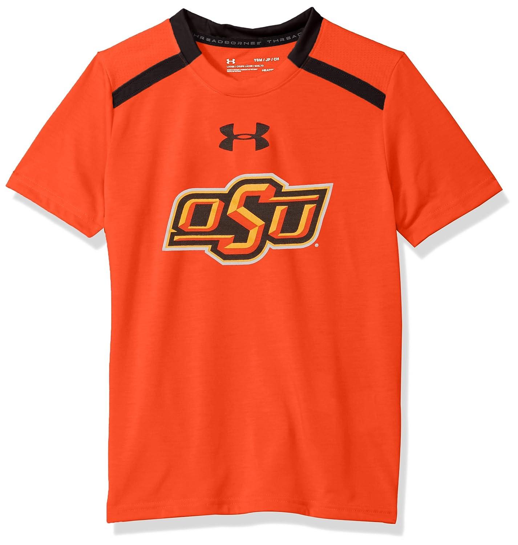 Large Black Under Armour NCAA Oklahoma State Cowboys Teen-Boys NCAA Boys Short Sleeve Vented Tee