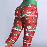 Feitengtd Women Merry Christmas Elastic Leggings