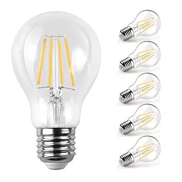 Ascher 5 X E27 6W Bombilla Filamento LED, 800 Lumen, Equivalente 60W, Blanco Cálido 2700K,AC 220-240V: Amazon.es: Iluminación
