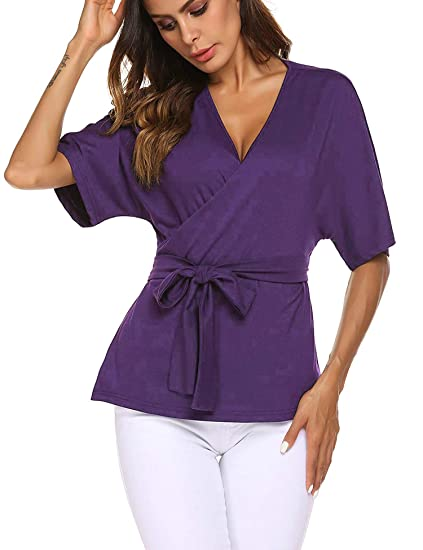 d585d63acc0 EASTHER Dressy Blouses for Women Tie Front Short Sleeve V Neck Shirts Tunic  Tops S-XXL