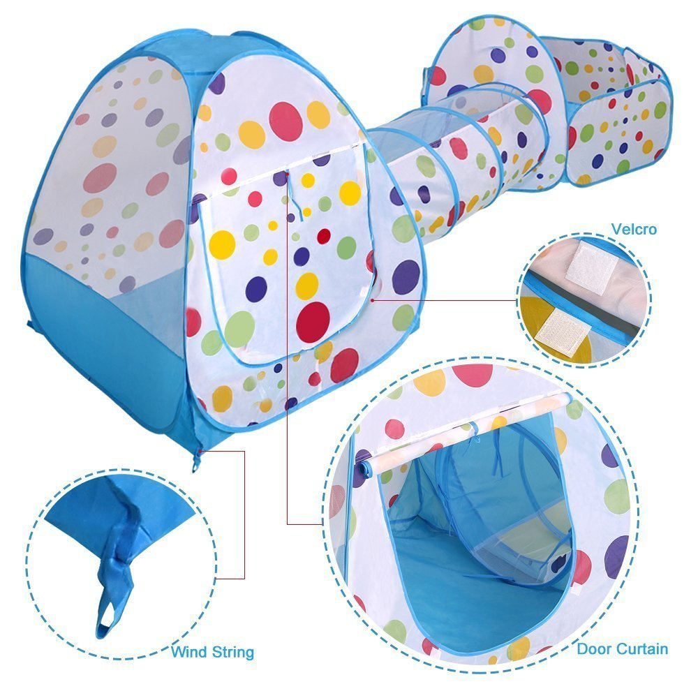 TRAVER DREAM Foldable Kids Toddler Pop Up Play Tent with Tunnel and Ball Pit with Zippered Storage Bag for Kids Indoor Outdoor Playhouse Children Play Gaming Toys /… 3in1/_10/_tent