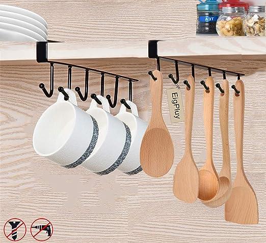 Under Shelf Coffee Cup Mug Holder Hanger Storage Rack Cabinet Hooks Kitchen Tool