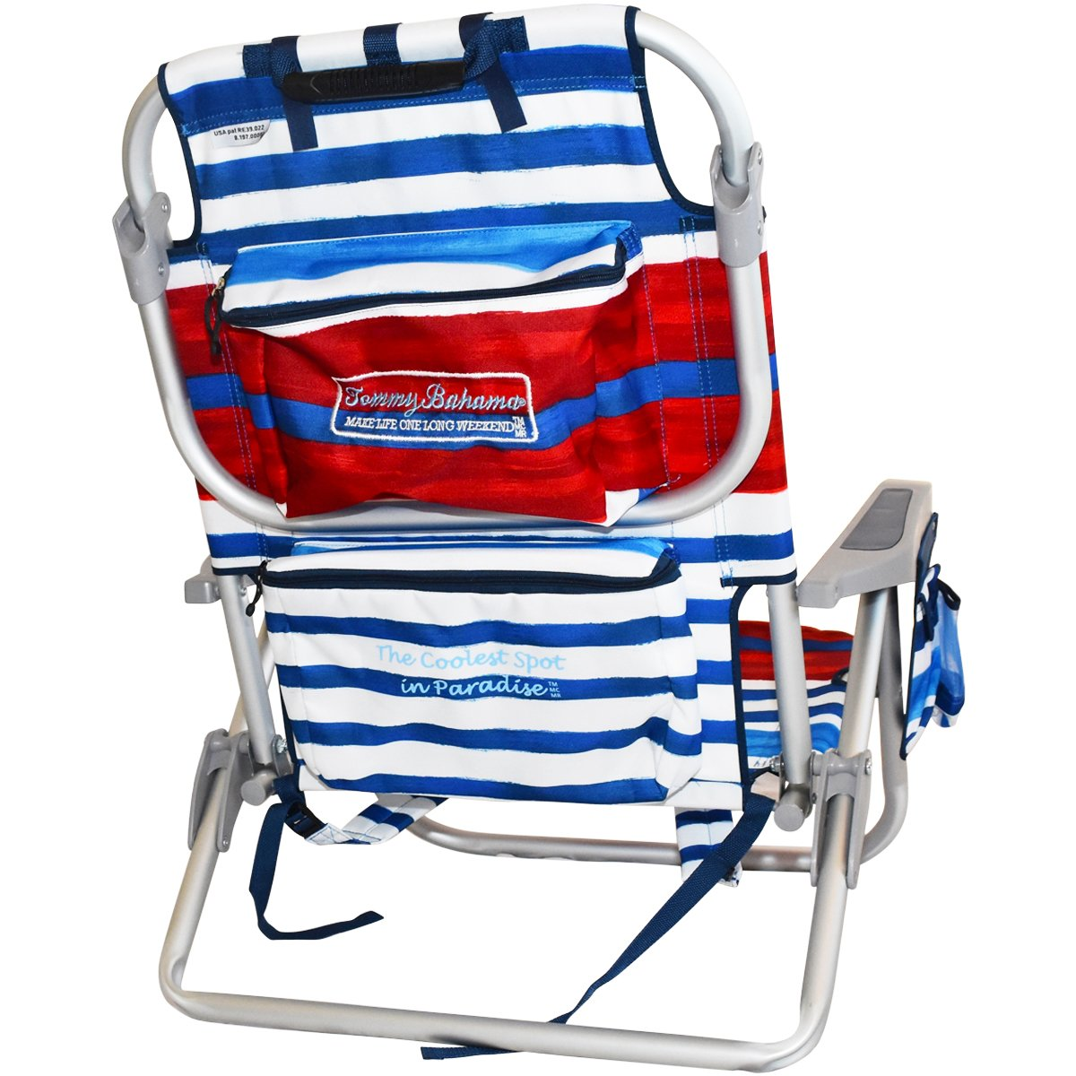 2 Tommy Bahama Backpack Beach Chairs/ Red White Blue Stripes + 1 Medium Tote Bag by Tommy Bahama Beach Gear (Image #4)