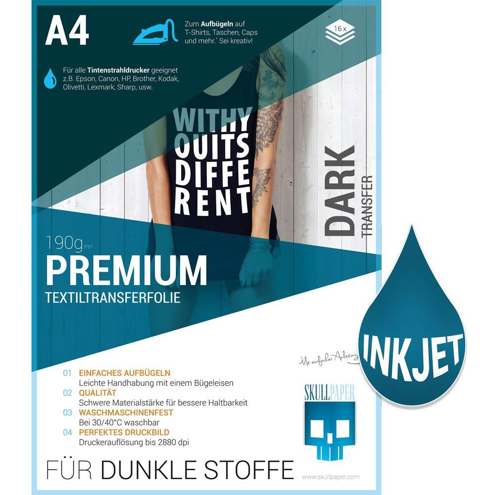 SKULLPAPER A4 Transferfolie für DUNKLE Stoffe - inkl. 200+ Motive (8 Blatt)