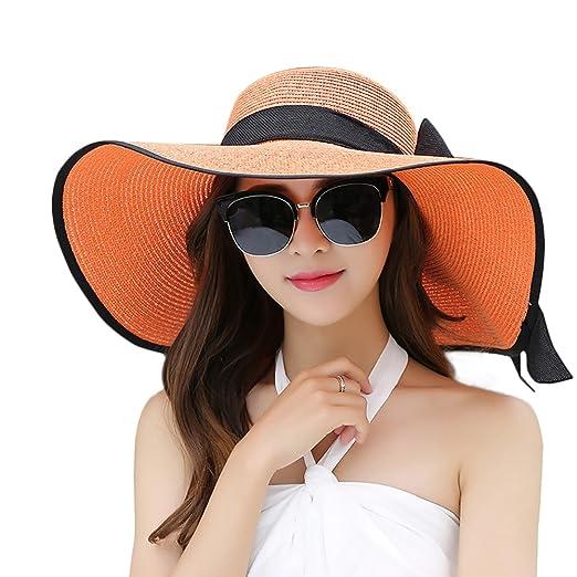 0569948e Women Floppy Hat Big Bowknot Straw Hat Wide Brim Beach Hat Sun Hat