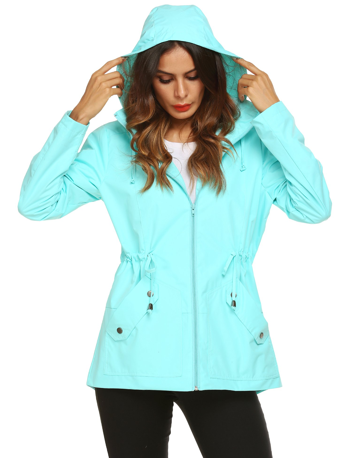 Romanstii Rain Jacket for Women Waterproof with Hood Lightweight Breathable Casual Coats,Jacket for Women Windbreaker Light Blue,Small by Romanstii