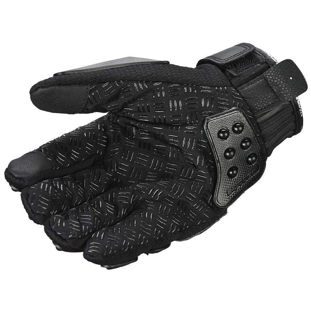 oubaiya Steel Outdoor Reinforced Brass Knuckle Motorcycle Motorbike Powersports Racing Textile Safety Gloves (Black, X-Large) by oubaiya (Image #7)