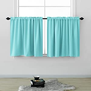 Kids Curtains Short 36 Inches Long for Bedroom Set 2 Panels Cafe Tier Curtains Room Darkening Rod Pocket Privacy Blackout Bed Curtains for Boys Girls Small Windows Kitchen Bathroom Egg Blue Pool 52x36