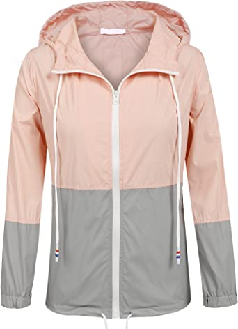 SoTeer Women's Waterproof Raincoat Outdoor Hooded Rain Jacket Windbreaker