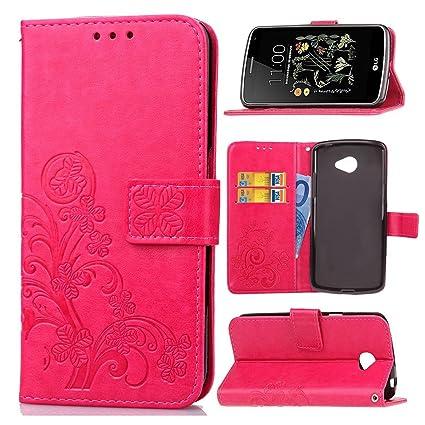 pinlu Funda para LG K5 Alta Calidad Función de Plegado Flip Wallet Case Cover Carcasa Piel PU Billetera Soporte con Trébol de la Suerte Rojo