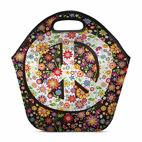 349bda153dcc InterestPrint Hippie Floral Peace Symbol with Various Flowers Neoprene  Lunch Boxes Lunch Bag Tote Insulated Gourmet Tote Cooler for Men Women  Kids, ...