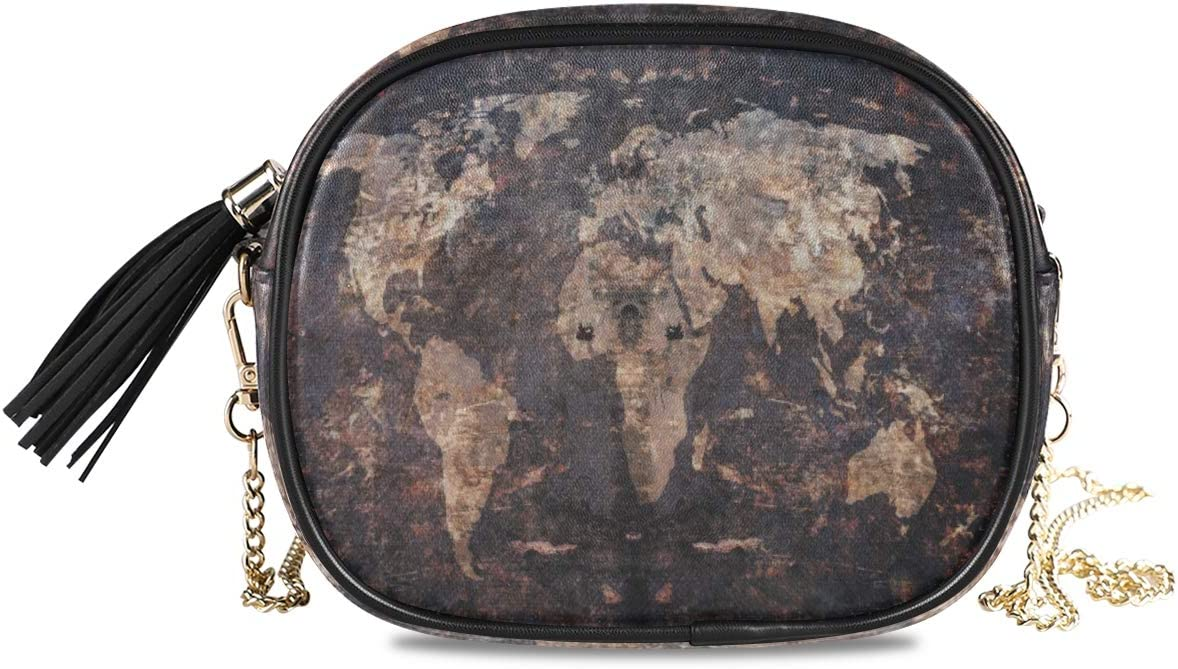 ALAZA Grunge Old Map Background Crossbody Bag with Adjustable Metal Chain Strap for Women Girl