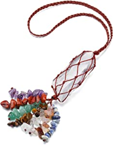 PESOENTH 7 Chakra Rainbow Healing Crystals Tassels Car Hanging Ornament Raw Clear Quartz Gemstone Feng Shui Hanging Decoration Good Luck Prosperity Home Decorative Reiki Yoga Meditation Gifts