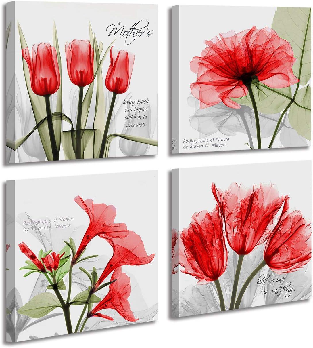 4 Panel Wall Art, Elegant Red Tulip Flower Canvas Print Wall Paintings,Flickering Flower Morning Glory Wall Decor,Modern Framed Home Art Decor 12x12inch