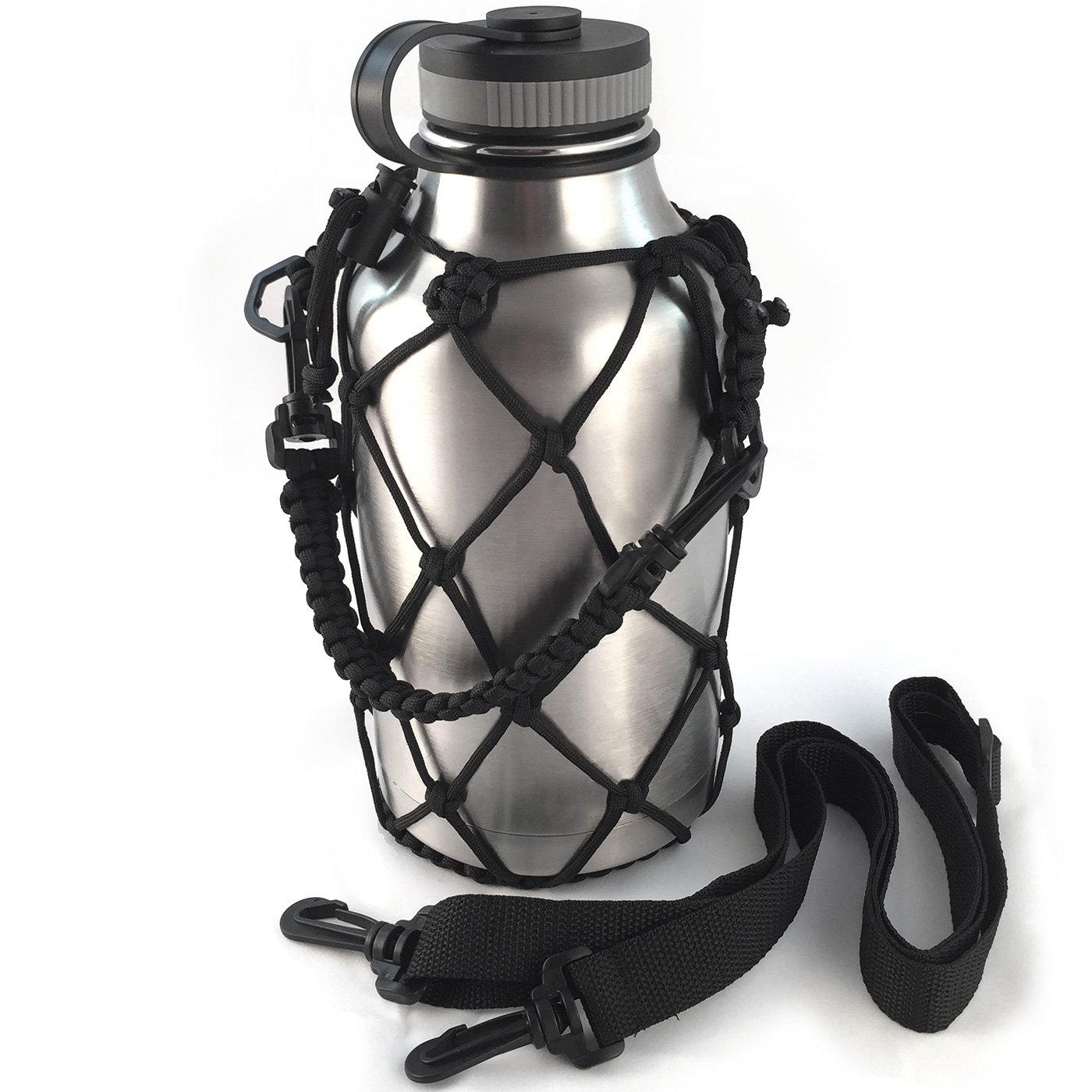 Gearproz HydroNet Carrier for Water Bottles - Fits Wide Mouth Hydro Flask 64 oz Growler - From America's #1 in Paracord Bottle Handles and Accessories - Sturdy, Prevents Dropping and Dents (64oz)