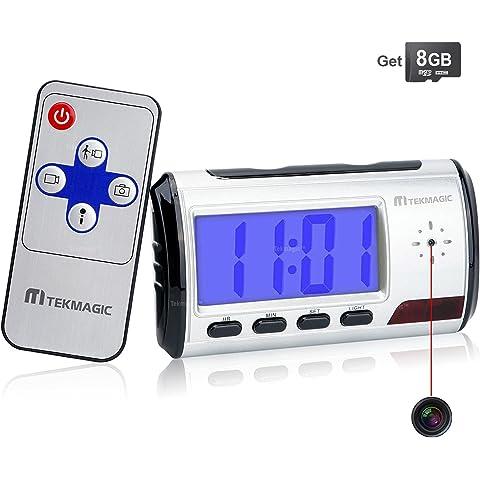 TEKMAGIC 8GB Camara Espia Oculta Reloj Despertador Digital Camaras de Vigilancia para Casa con Audio y