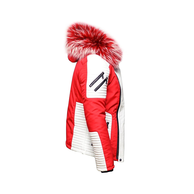 Ventiuno Mazerati - Maserati - Mazeratti Veste Doudoune Bi-matière Rouge  Blanche Fourrure véritable Rouge mèches Blanches épaisseur Maximum - XS -  Doudoune, ... 0821d0e01ab