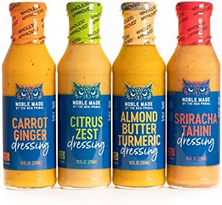 product image for Noble Made by The New Primal, Dressing Variety Pack, Includes Sriracha Tahini, Carrot Ginger, Almond Butter Turmeric & Citrus Zest (Four 10-Ounce Bottles)