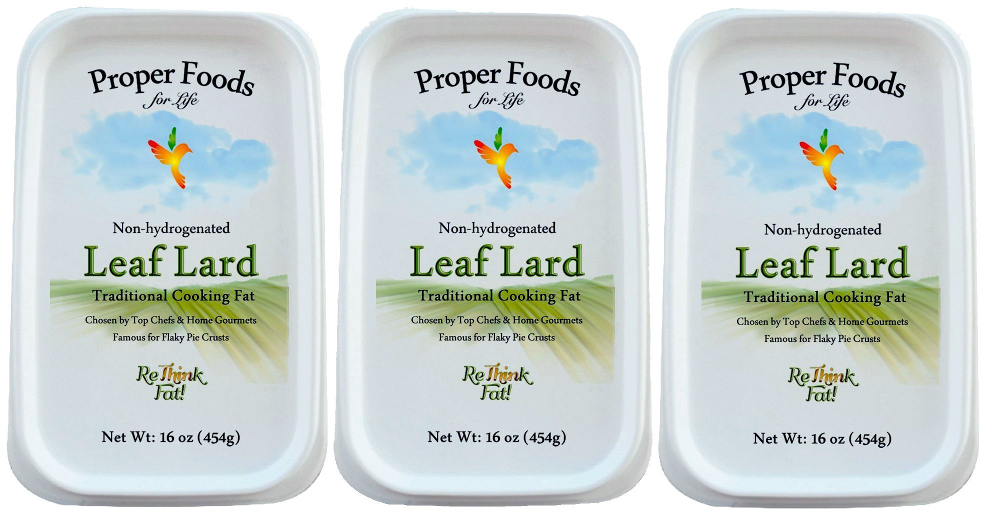 100% Pure Pork Leaf Lard - Non-Hydrogenated - Pasture Raised - For Cooking, Baking and Frying - One Pound Tub (16 oz) - by Proper Foods - (Pack of 3)
