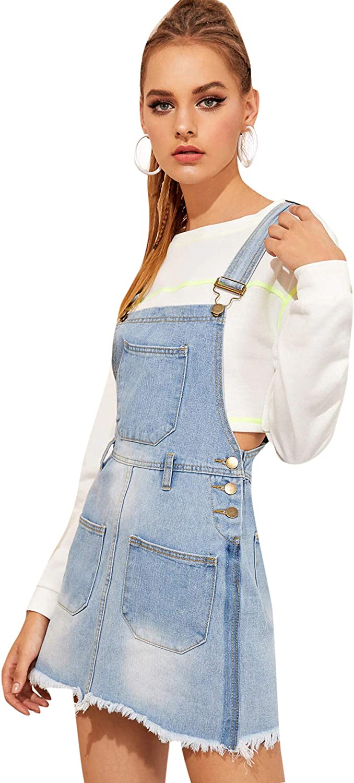 Milumia Womens Casual Denim Bib Overall Dress Adjustable Strap Dress