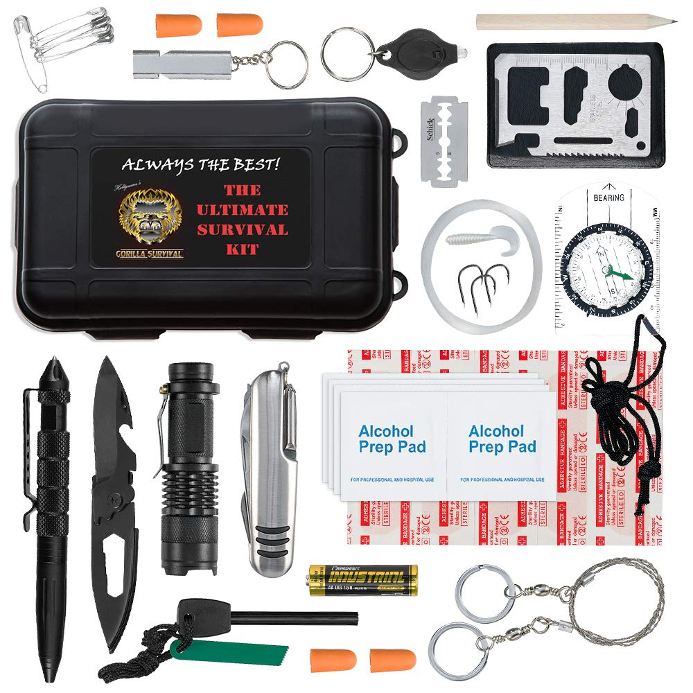 Ultimate 43-in-1 Emergency Survival Kit | Outdoor Multi-Tools for Camping, Hiking, Hunting & Fishing | First Aid Supplies | All Inclusive Survival Gear with Box for Campers & Preppers by Holtzman's Gorilla Survival