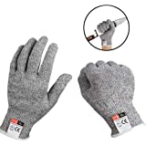 Cut Resistant Gloves High Performance Level 5 Protection Safety Work Gloves Food Grade Kitchen Safety Glove (1Pair, S, Grey)