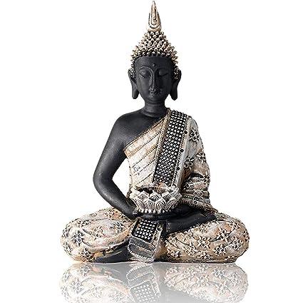 Lot de 5 Petites Bougies et Pierres de d/éco INtrenDU Large /Ø 27cm Statue Figure Bouddha Photophore