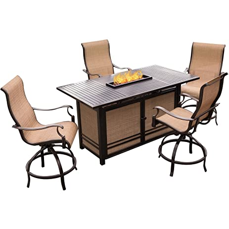 Captivating Hanover Monaco 5 Piece High Dining Bar Set With 30,000 BTU Fire Pit Bar  Table