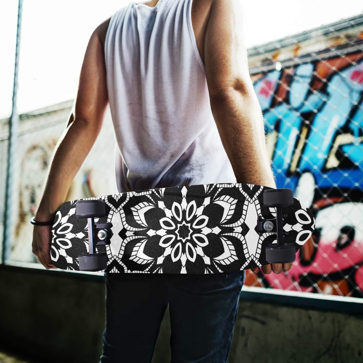 Patr/ón con mandalas para skateboard cinta de agarre para patinetes y patinetes de papel de lija de 9 x 33 pulgadas MNSRUU