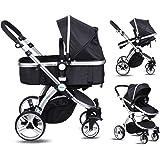 Amzdeal 2 en 1 Poussette pour bébé de 0-3 ans avec Inclinaison du siège et capote réglable, Landau poussette pliable à 4 roues et nacelle bébé pour promenade, voyage