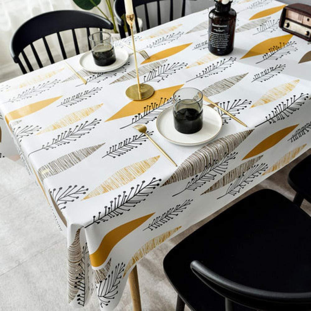 WJJYTX gartentischdecke eckig, Abwischbare Tischdecke aus Vinyl/Kunststoff Verbrühsicheres, ölbeständiges Einweg-PVC Nordic Yellow @ 140 * 200