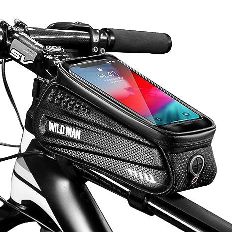 Faireach Bolsa Manillar con Soporte Móvil para Telefono Bicicleta, Bolsa Bici, Bolso Bicicleta Impermeable y con Ventana para Pantalla Táctil, para ...
