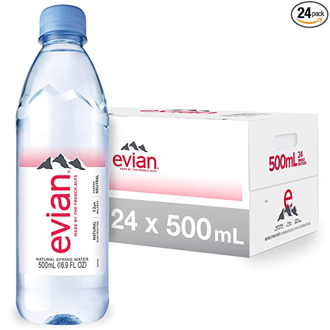 evian Natural Spring Water Bottles, Naturally Filtered Spring Water in Individual-Sized Plastic Bottles