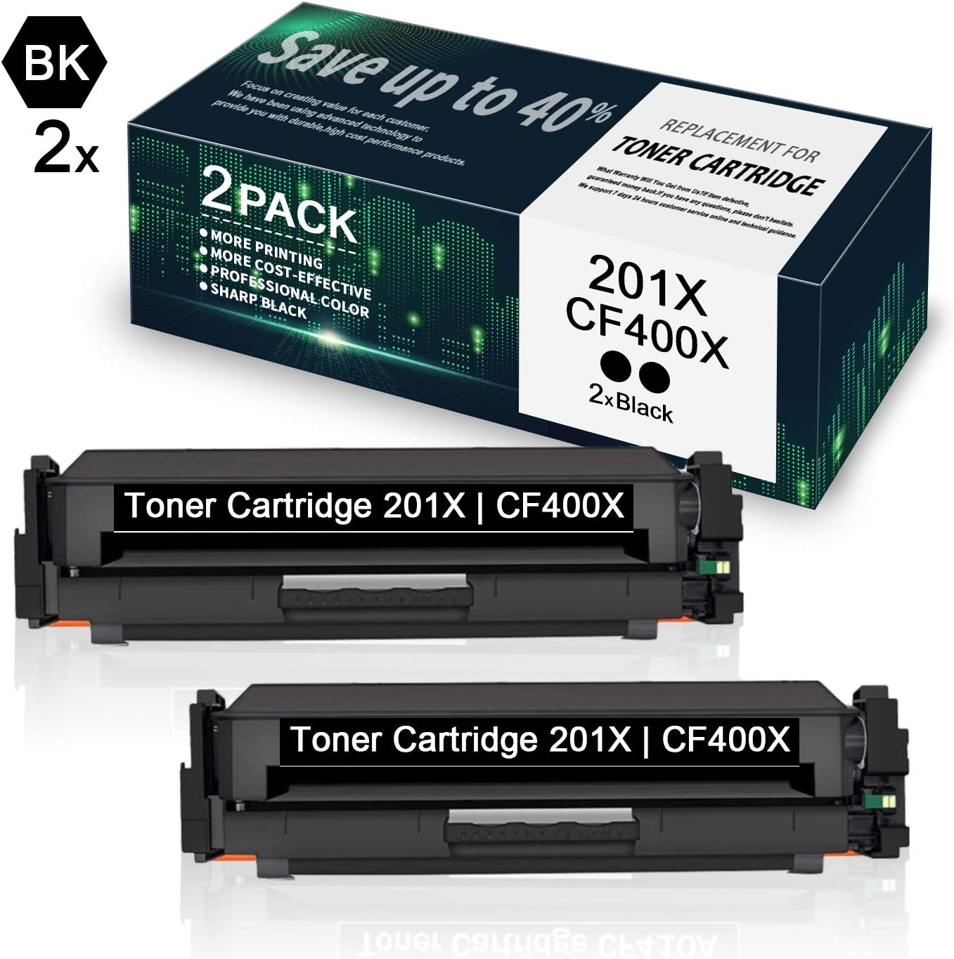 2 Pack High Yield 201X | CF400X Black Toner Cartridge Replacement for HP Color Laserjet Pro M252dw M252n MFP M277n M277dw M277c6 M274n Printer Toner - by VaserInk