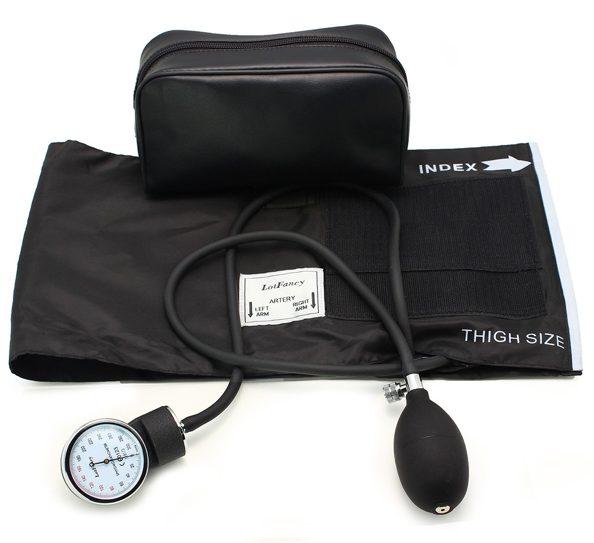 LotFancy Manual Aneroid Sphygmomanometer (Blood Pressure Gauge) with Zipper Case, Thigh Size Cuff, FDA Approved (Adult Cuff XL 15.9-25.9 inches)
