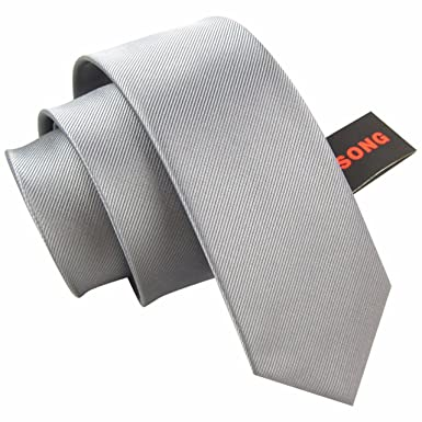 HXCMAN 6cm gris liso estrecha corbata diseño clásico 100% seda ...