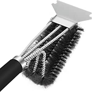 Grill Brush and Scraper, Quick Easy Safe BBQ Grill Brush for All Grilling Grates, 18 Inch Stainless Steel Woven Wire 3 in 1 Bristles Grill Cleaning Brush, Ideal BBQ Grill Accessories