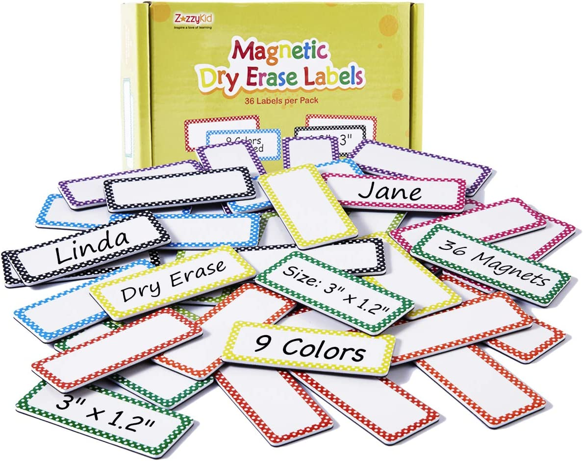 Magnetic Name Plates Dry Erase Labels: 36 pcs 3 x 1.2 inches, 9 Colors, Office & School Supplies