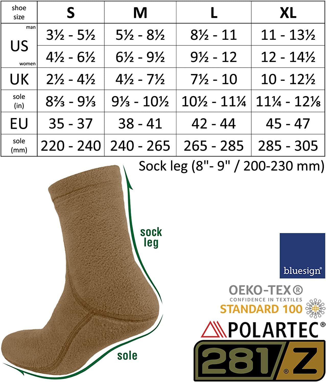 Military Tactical Outdoor Sport 281Z Hiking Warm 8 inch Boot Liner Socks Coyote Brown Polartec Fleece Winter Socks