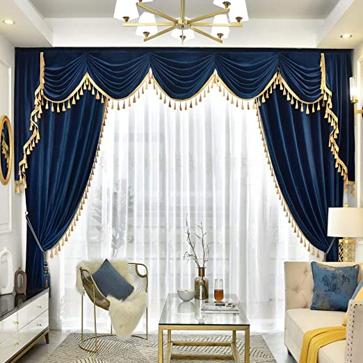 Amazon Com Queen S House Luxury Velvet Navy Blue Curtains And Valance For Living Room Window Treatments With Gold Tassel 60 84 F Home Kitchen