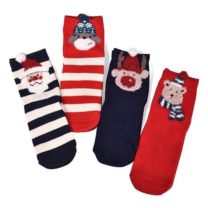 BAINASIQI Mujeres Hombres Niñas Chicos Calcetines de Navidad Calcetines de Animales Lindos Un Juego (4