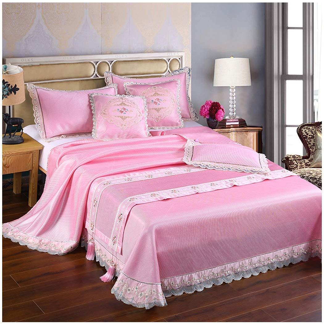厚手機洗えるアイスつるマットアイスシルクマットスリーピースベッドリネンベッドスカート (Color : Pink, Size : 2.0*2.2m) B07T913CYL Pink 2.0*2.2m