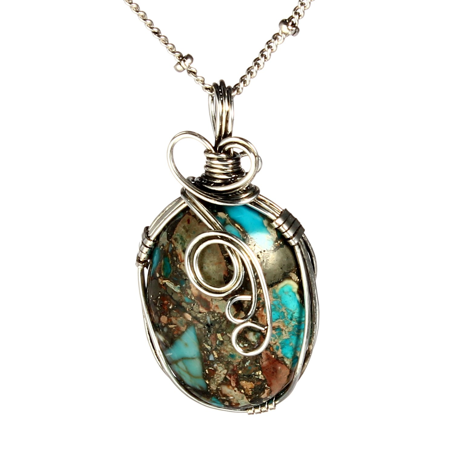Bonnie Handmade Wire Necklace Natural Stone Agate Women's Art Jewelry-Wire Wrap (Style 3)