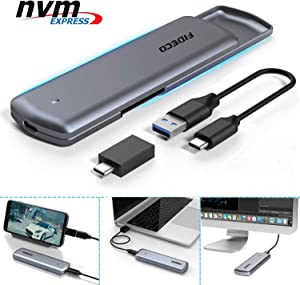 FIDECO M.2 NVME USB C SSD Enclosure Adapter, USB 3.1 Gen 2 10Gbps to NVME PCIe M-Key Solid State Drive External Enclosure with UASP for M.2 NVME SSD 2230/2242/2260/2280 (NVME Based)