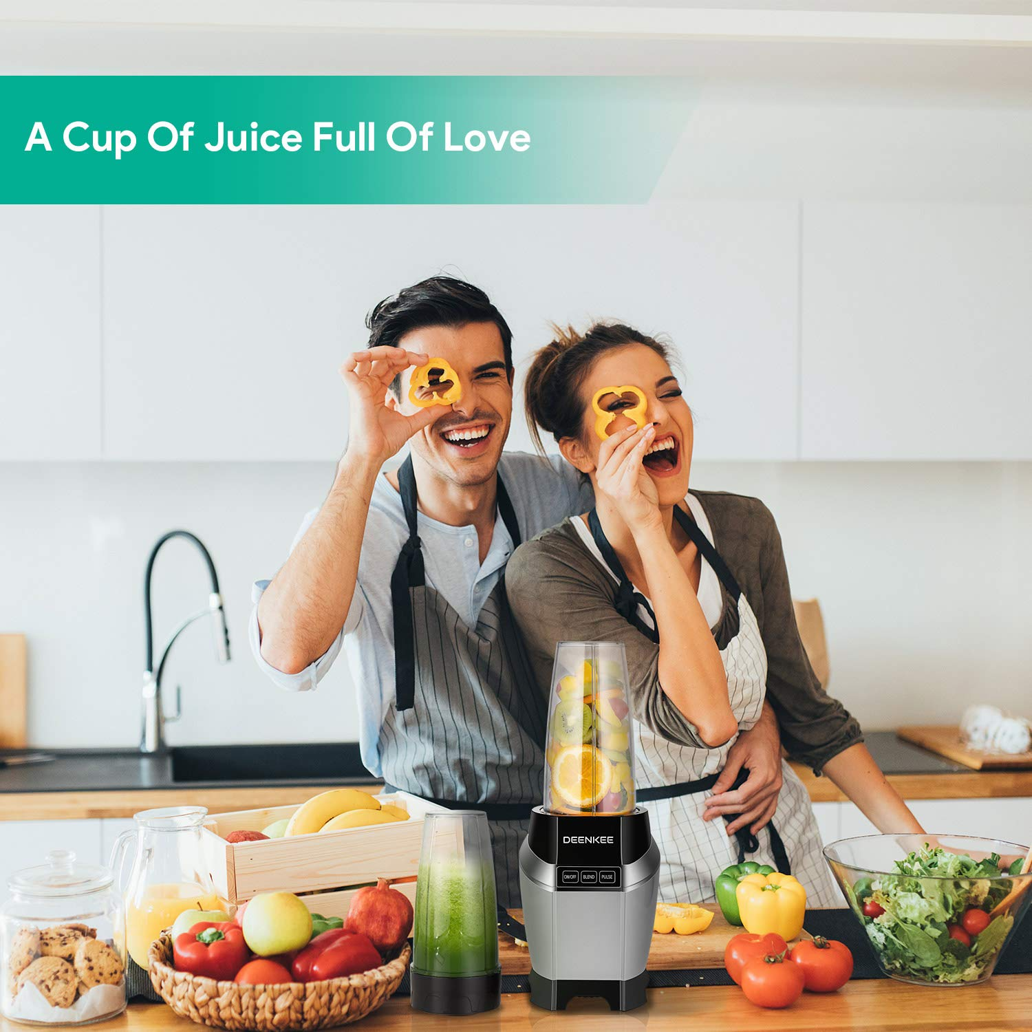 Blender, Smoothie Blender, Personal Blender, Blender For Shakes And Smoothies, Stainless Steel Juicer Blender Electric, Professional-Grade Power,High-Speed Blender For Baby Food With 1000W, BPA Free,FDA, Recipes Including by Antehome (Image #3)